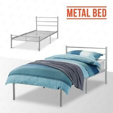 3FT Single 4FT6 Double Silver Bedstead Metal Bed Frame Sturdy for Adult Children
