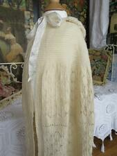Beautiful Antique 1920's Hand Knitted Lace Lambswool Christening Cape