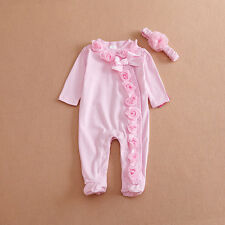 Newborn Baby Girl Clothe Lace Floral Infant Princess Jumpsuit Cotton Baby Romper
