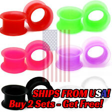 Pair of Ultra Soft Silicone Ear Skin Flesh Tunnels Plugs Gauges Earskin Earlets