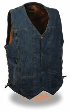 Men's BLUE Classic 8 Pocket Snap Front Denim Vest with Side Lace & Gun Pocket