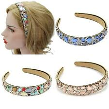 Crystal Rhinestone Lady Wide Headband Plastic Hairband Imitation Leather Lined