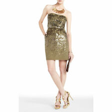 NEW BCBG MAX AZRIA ATALAYA SEQUIEN STRAPLESS BRONZE COM DRESS $398.00