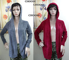 Oh!MG charcoal or mulled vine red hooded long sleeve flyway open cardigan,S,M
