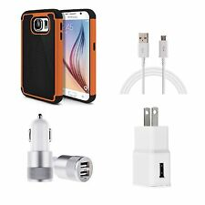 Case Bundle Deal for Samsung Galaxy S6 Case +Wall Charger+USB Cable+Car Charger