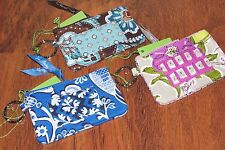Vera Bradley JAVA BLUE or WATERCOLOR Travel College School Keys ZIP ID CASE, NWT