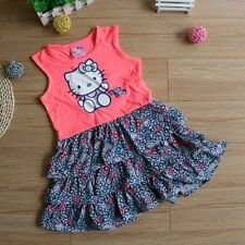 New Hello Kitty Party Dress Baby Girls Kids Age 2 3 4 5 6 Years100% Cotton