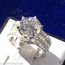 3pc Bridal Set:10mm Created Diamond Engagement Wedd Ring Real 925 Sterlin Silver