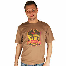 Life is Good Teak Brown Jake's Old Towne Tavern Creamy Mens T-Shirt Tee Top NWT