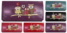 Owl Happy Family Pattern Large Size Ladies Womens Purse Clutch Wallet FREE P&P