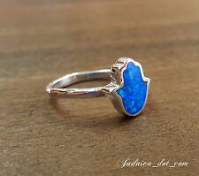 BLUE OPAL HAMSA Sterling Silver Ring Lucky Kabbalah Judaica Jewelry From Israel
