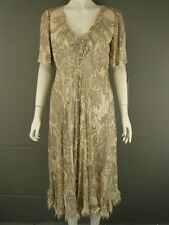 NEW WITH TAGS TOM BOWKER SHORT SLEEVED SILK FLORAL PRINT BEIGE DRESS SIZE 12-18