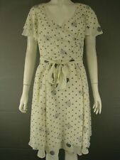 ALEXON SHORT SLEEVED KNEE LENGTH IVORY POLKA DOT DRESS SIZE 8,14,16,20-RRP £125