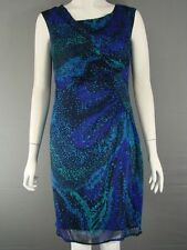 BNWT MINUET PETITE PURE SILK BLUE MULTI DRESS SIZES 8/10/14/16/18 - RRP £110