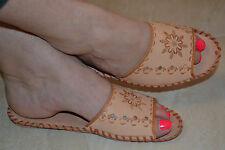 Womens Ladies Traditional Sheep Leather Slippers Shoes Sandal Handmade In Poland