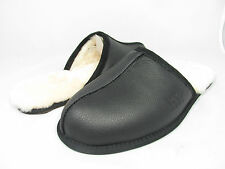 NEW UGG AUSTRALIA MEN SLIPPER SCUFF LEATHER BLACK 1001546 ORIGINAL