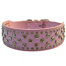 PINK Rhinestones Dog Collar Large2''wide Leather Collar For PitbullsDogsPlusSize