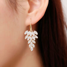 Charm Womens Rock Earring Full Crystal Leaf Ear hook Clip Dangle Earrings