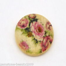 GB Wholesale Flower Painting Wood Sewing Buttons 2 Hole 15mm