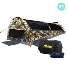 Weisshorn King Single Swag Camping Swags Canvas Tent Deluxe Green Camouflag
