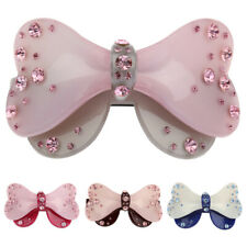 Crystal Rhinestone Acrylic Double Bow Barrette Hair Clip Clamp Hairpin
