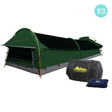 Weisshorn King Single Swag Camping Swags Canvas Tent Aluminum Poles Bag Green