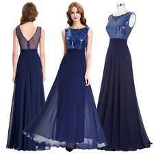Chiffon Long Prom Dress Sequined Evening Gown Bridesmaid Cocktail Party Dress