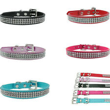 POP Bling Rhinestone PU Leather Crystal Diamond Puppy Collar Pet Dog Cat Collar