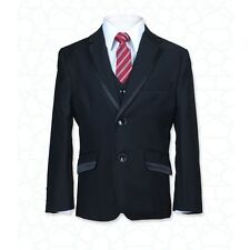 Boys 5 PC Formal Black Dinner Suit, Shinny Piping Pageboy Prom Wedding Suits