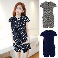 Womens Playsuit Rompers Overalls Sexy Lady Short Sleeve V-neck Jumpsuit Playsuit