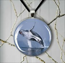 SEA LIFE HUMPBACK WHALE JUMPING PENDANTS NECKLACE  -ae3w