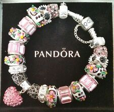 AUTHENTIC PANDORA Sterling Silver CHARM BRACELET with European Beads Charms #26