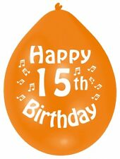 """HAPPY 15th BIRTHDAY 9"""" Party Balloons Colour CHOOSE YOUR QUANTITY"""