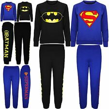 Kids Boys Girls Superman Bright Logo Sweatshirt Jog Pants Bottoms Trousers