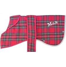 Small Med Large Personalised Ancol Red Tartan Dog Coat