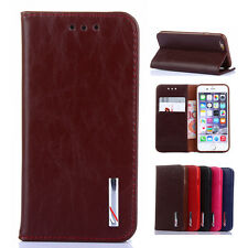 Genuine Leather Flip Stand Wallet Case Cover Card Pocket for iPhone 6 6s/Plus 5s