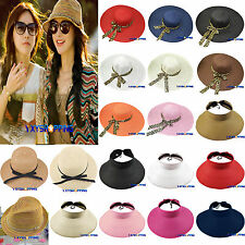 Summer Holiday Womens Wide Brim Floppy Fold Sun Straw Felt Hat Beach Derby Cap