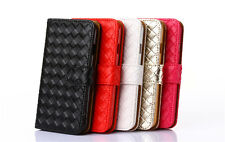 Woven Pattern PU Leather Stand Magnetic Case Cover For iPhone 5/5S SE 6/6S Plus
