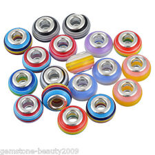 GB Wholesale Mixed European Charms Spacer Beads Striped Pattern Jewelry 14mm