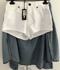 Rihanna River Island Blue White Denim Hotpants Shorts Tied Shirt UK 8 US 4 BNWT