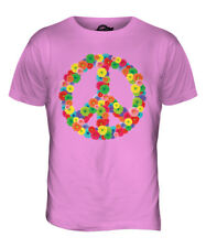 FLOWER POWER MENS FASHION PRINT T-SHIRT HIPPY HIPSTER CND SYMBOL PEACE BAN BOMB