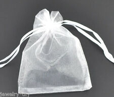 Wholesale JD 9x7cm White Drawable Organza Wedding Gift Bags &Pouches