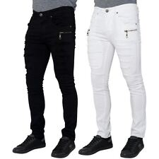 Seven Series  Mens Skinny Fit Stretch Jeans Zipped Ripped Distressed Denim Pants