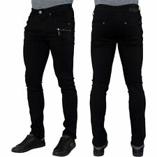 Seven Series Mens Black Skinny Jeans Biker Jeans Zipped Stretch Denim Pants