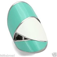 Blue And White Multi Color Epoxy High polish Stainless Steel Ring