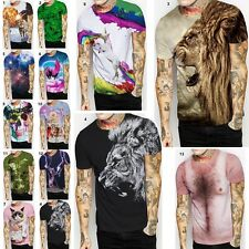 Fashion 3D Men T-shirt Cotton Casual crew neck Short Sleeves Tee Tops Blouse US