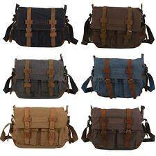 Large Travel Canvas Leather Satchel School Military Shoulder Messenger Bag Pouch