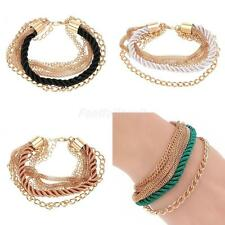 Punk Handmade Cotton Braided Rope Multilayer Gold chain Cuff Bracelet Wrristband