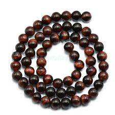 "Round Red Tiger Eye Beads Jewelry Making Loose Gemstone Beads Strand 15"" 4/6/8mm"