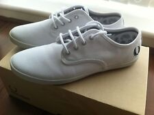 Fred Perry Foxx White Trainers Canvas Sneakers Plimsolls UK 8 EU 42